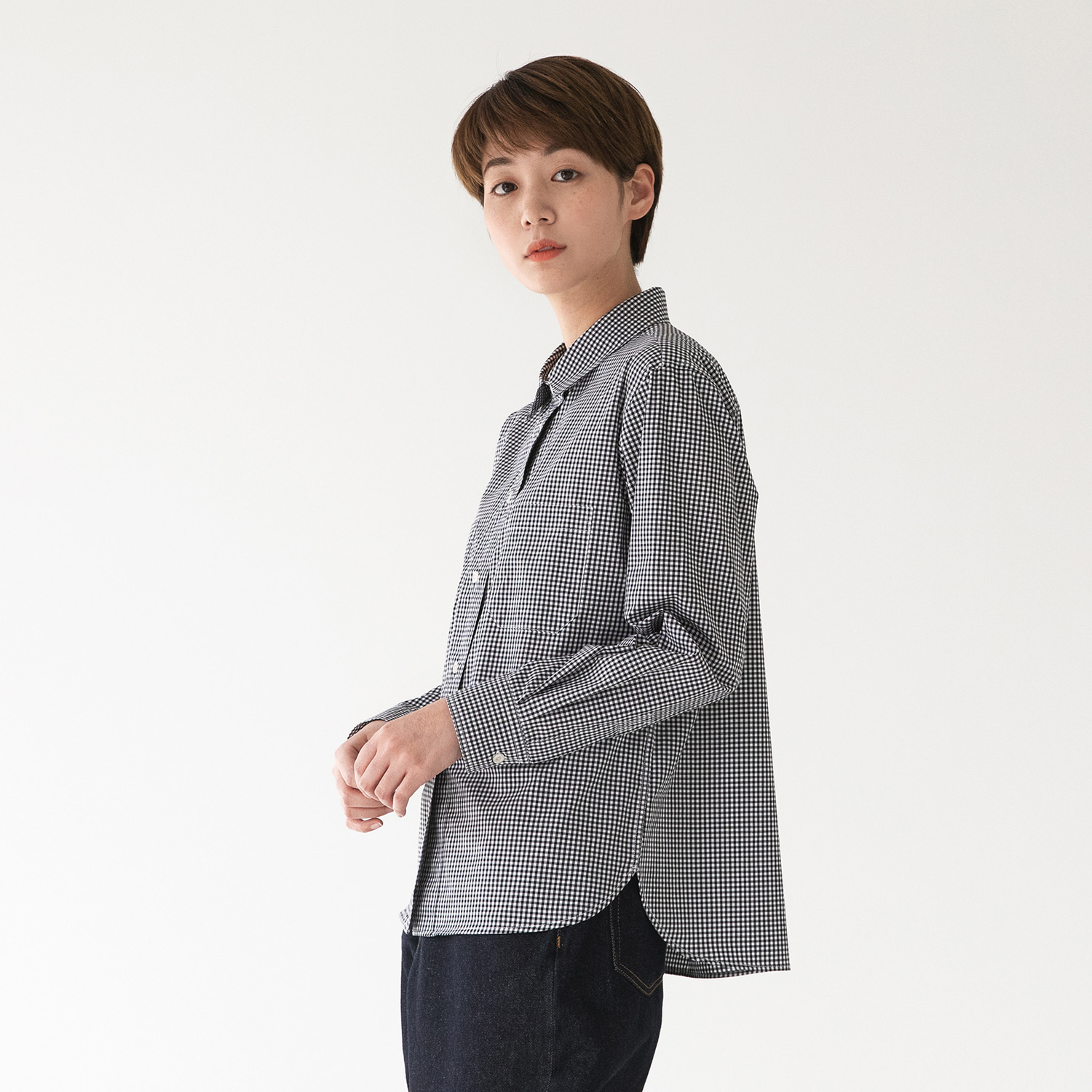 ★재입고★ Women Editor Shirt (Gingham Check)