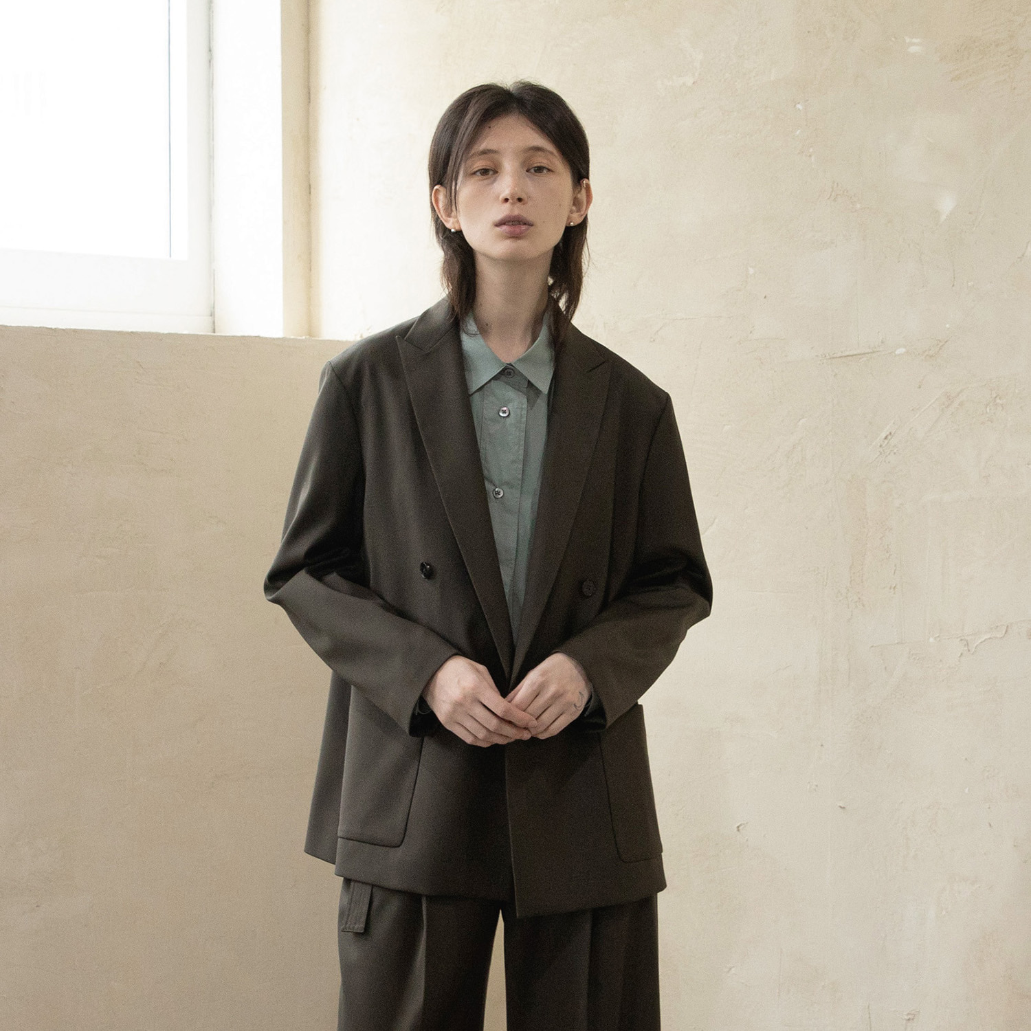 Women Calm Double Jacket (Olive Brown)